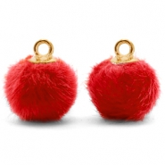 Pompom bedels met oog faux fur 12mm Siam red-gold