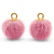 Pompom bedels met oog faux fur 12mm Vintage dark pink-gold