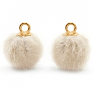 Pompom bedels met oog faux fur 12mm Sand beige-gold
