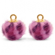 Pompom bedels met oog  faux fur leopard 12mm Purple pink-gold