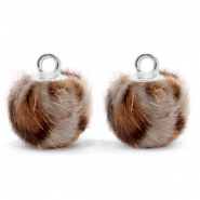 Pompom bedels met oog  faux fur leopard 12mm Taupe brown-silver