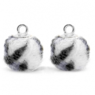 Pompom bedels met oog  faux fur leopard 12mm Off white-silver