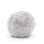 Pompom bedels met oog faux fur 3.5cm Light grey