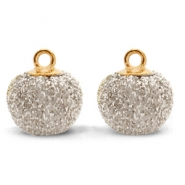 Pompom bedels met oog glitter 12mm Light gold-gold