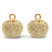 Pompom bedels met oog glitter 12mm Gold