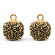 Pompom bedels met oog glitter 12mm Gold anthracite-gold