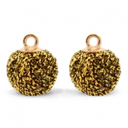 Pompom bedels met oog glitter 12mm Gold brown-gold