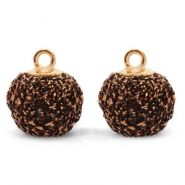 Pompom bedels met oog glitter 12mm Bronze-gold