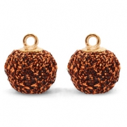 Pompom bedels met oog glitter 12mm Copper-gold