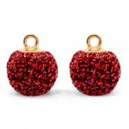 Pompom bedels met oog glitter 12mm Dark red-gold
