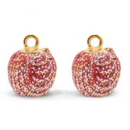 Pompom bedels met oog glitter 12mm Red-gold