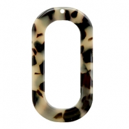 Resin hangers langwerpig ovaal 56x30mm Creme-black
