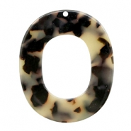 Resin hangers ovaal 48x40mm Creme-black