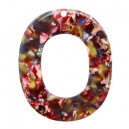 Resin hangers ovaal 48x40mm Mixed red-yellow