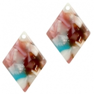 Resin hangers ruit 20x14mm Mixed pink-blue