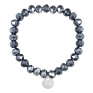 Sisa top facet armbandjes 8x6mm (RVS bedel) Dark blue-pearl shine coating