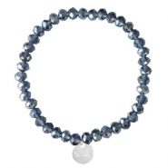 Sisa top facet armbandjes 6x4mm (RVS bedel) Dark blue-pearl shine coating