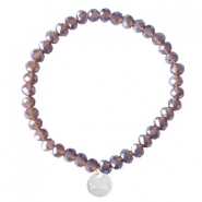 Sisa top facet armbandjes 6x4mm (RVS bedel) Dark grape purple-pearl shine coating