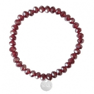 Sisa top facet armbandjes 6x4mm (RVS bedel) Burgundy red-pearl shine coating