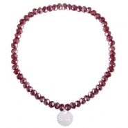 Sisa top facet armbandjes 4x3mm (RVS bedel) Burgundy red-pearl shine coating