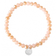 Sisa top facet armbandjes 6x4mm (RVS bedel) Ginger pink-pearl shine coating