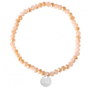 Sisa top facet armbandjes 4x3mm (RVS bedel) Ginger pink-pearl shine coating