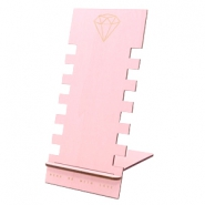 Sieraad display hout diamond Pink