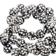 Strass kralen 8mm Black-silver