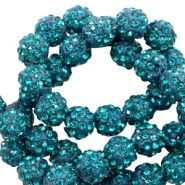 Strass kralen 10mm Teal blue