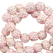 Strass kralen 6mm Light pink