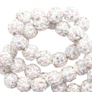 Strass kralen 8mm White-AB
