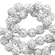 Strass kralen 6mm White-silver