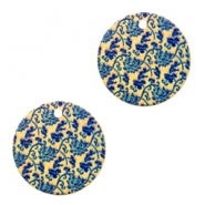 Metalen bedels rond 1 oog flowers Blue-gold