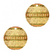 Metalen bedels rond 1 oog aztec Brown green-gold