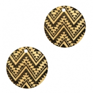 Metalen bedels rond 1 oog aztec Black-gold