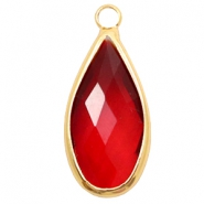 Hangers van crystal glas druppel 10x20mm Red crystal-gold