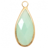 Hangers van crystal glas druppel 10x20mm Light turquoise green opal-gold