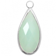 Hangers van crystal glas druppel 10x20mm Light turquoise green opal-silver