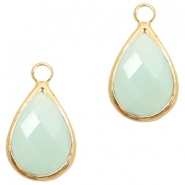 Hangers van crystal glas druppel 10x14mm Light turquoise green opal-gold