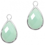 Hangers van crystal glas druppel 10x14mm Light turquoise green opal-silver