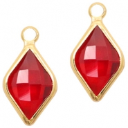 Hangers van crystal glas rhombus 10x14mm Red crystal-gold
