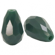 Top facet kralen druppel 10x15mm Dark petrol green