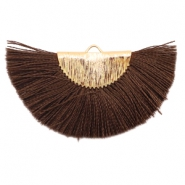 Kwastjes hanger Gold-chocolate brown