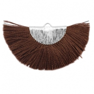 Kwastjes hanger Silver-chocolate brown