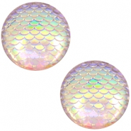 Cabochon basic 12mm mermaid Silver crystal holographic