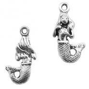 Basic Quality metalen bedels mermaid Zilver