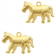 Basic Quality metalen bedels zebra Goud