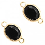 Tussenstukken van crystal glas 8x10mm Jet black-gold