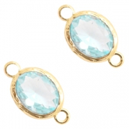 Tussenstukken van crystal glas 8x10mm Light blue crystal-gold