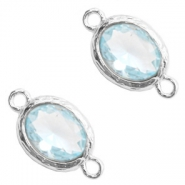 Tussenstukken van crystal glas 8x10mm Light blue crystal-silver